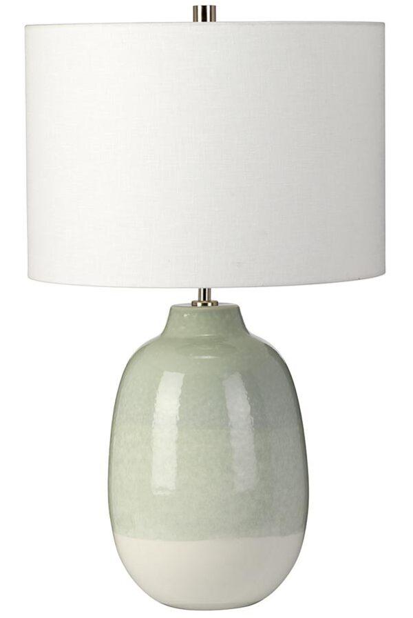 Elstead Chelsfield Green Ceramic Table Lamp White Shade