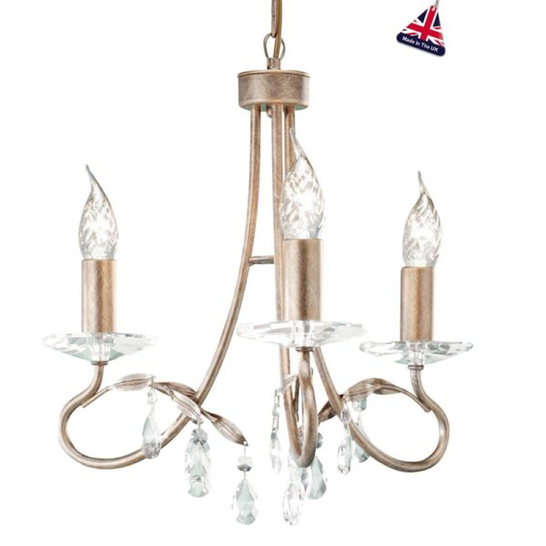 Elstead Christina Classic Silver & Gold 3 Light Chandelier Crystal Drops
