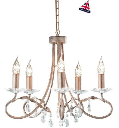 Elstead Christina Classic Silver & Gold 5 Light Chandelier Crystal Drops