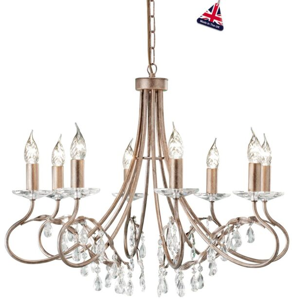 Elstead Christina Classic Silver & Gold 8 Light Chandelier Crystal Drops