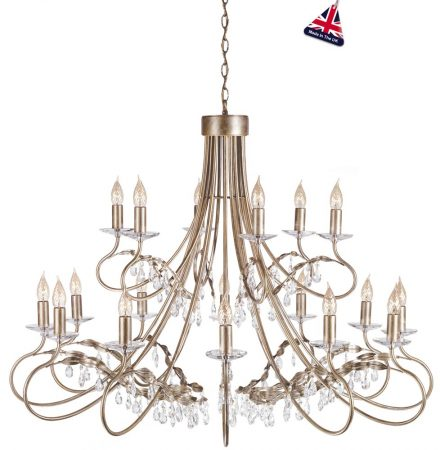 Elstead Christina Large Silver & Gold 18 Light Chandelier Crystal Drops