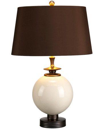 Elstead Clara Cream Ceramic Orb Table Lamp Brown Shade