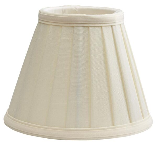 Cream Pleated Fabric White Lined 6 Inch Clip On Lamp Shade
