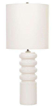 Elstead Contour 1 Light Ceramic Table Lamp White Shade