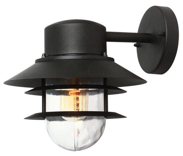 Elstead Copenhagen Black 1 Light Outdoor Wall Lantern Stainless Steel
