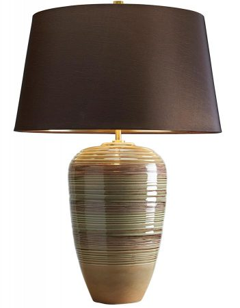 Elstead Demeter Green Brown Ceramic Table Lamp Brown Shade