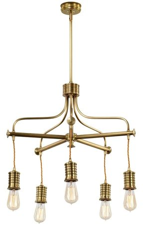 Elstead Douille 5 Light Chandelier Aged Brass Vintage Industrial Style