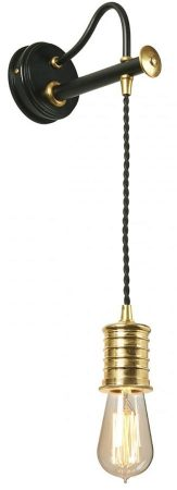 Elstead Douille Hanging Wall Light Black / Polished Brass Industrial Style