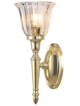 Elstead Dryden Fluted Glass Bathroom Wall Light Polished Solid Brass