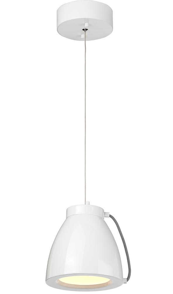 Elstead Europa 15W Dimmable LED Small Pendant Ceiling Light White