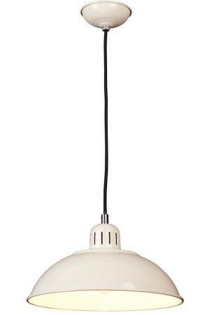 Elstead Franklin Retro Style Industrial Pendant Light Gloss Cream