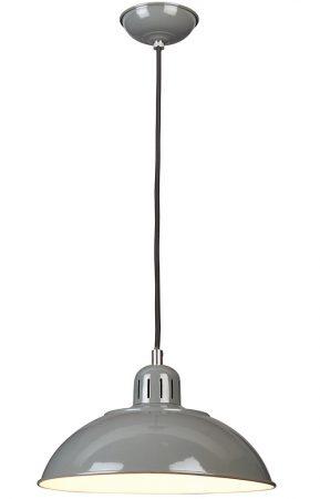 Elstead Franklin Retro Style Industrial Pendant Light Gloss Grey