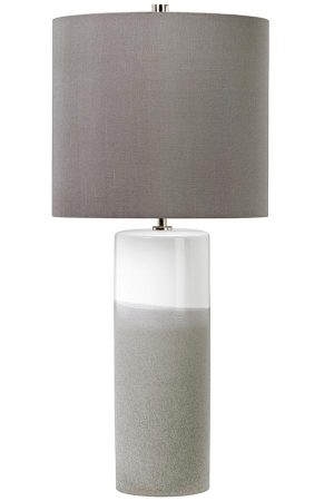 Elstead Fulwell White & Grey Ceramic Table Lamp Grey Shade