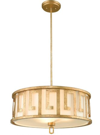 Gilded Nola Lemuria 3 Light Duo Mount Large Pendant Distressed Gold