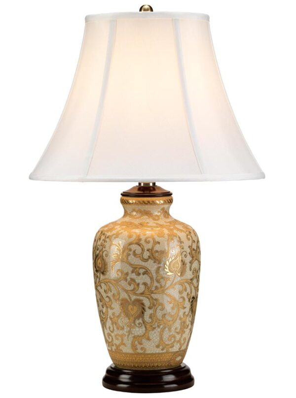 Elstead Gold Thistle Chinese Porcelain Table Lamp White Shade