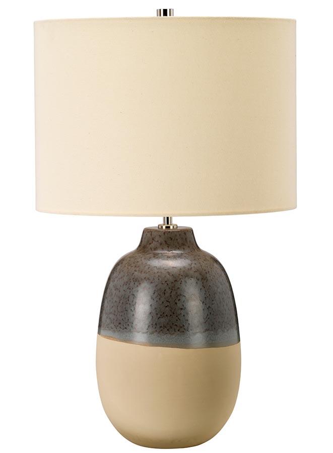 Elstead Grange Park Brown Beige Ceramic Table Lamp Cream Shade