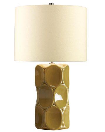 Elstead Green Retro Ceramic Table Lamp Cream Shade