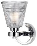 Elstead Gunnislake Bathroom Wall Light Polished Chrome Prismatic Glass
