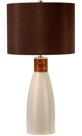 Elstead Hammersmith Taupe Ceramic Table Lamp Brown Shade