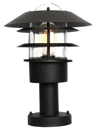 Elstead Helsingor Black 1 Light Outdoor Pedestal Lantern Stainless Steel