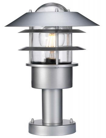 Elstead Helsingor Silver 1 Light Outdoor Pedestal Lantern Stainless Steel