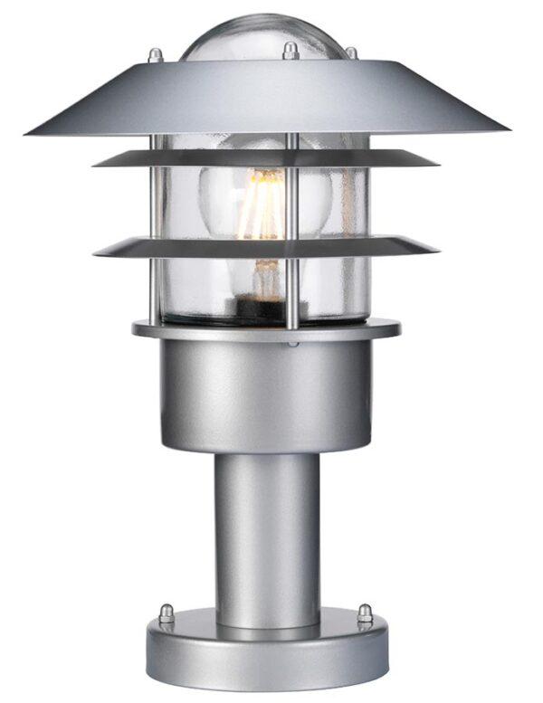 Elstead Helsingor Silver 1 Light Outdoor Pedestal Lantern Stainless Steel