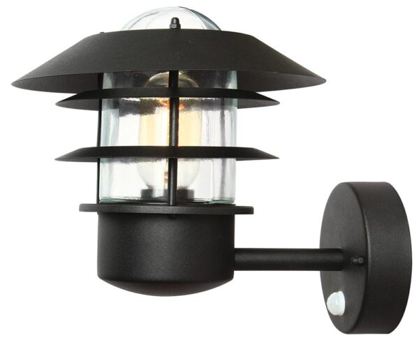 Elstead Helsingor Black 1 Light PIR Outdoor Wall Lantern Stainless Steel