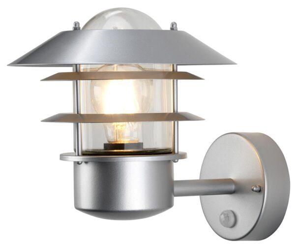 Elstead Helsingor Silver 1 Light PIR Outdoor Wall Lantern Stainless Steel