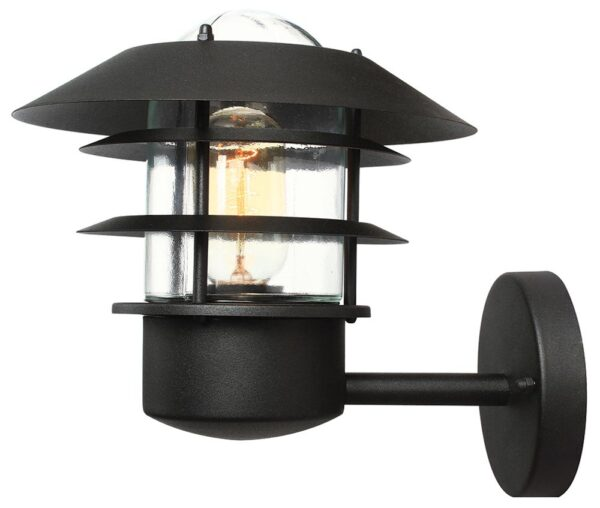 Elstead Helsingor Black 1 Light Outdoor Wall Lantern Stainless Steel