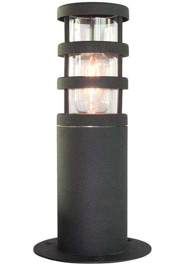 Elstead Hornbaek 1 Light Stainless Steel Outdoor Pedestal Lantern Black