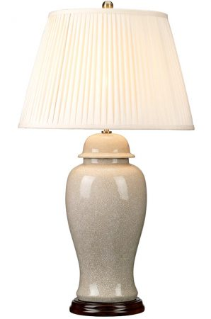 Elstead Ivory Crackle Large Ceramic Table Lamp Cream Shade