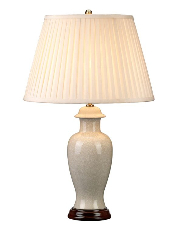 Elstead Ivory Crackle Small Ceramic Table Lamp Cream Shade