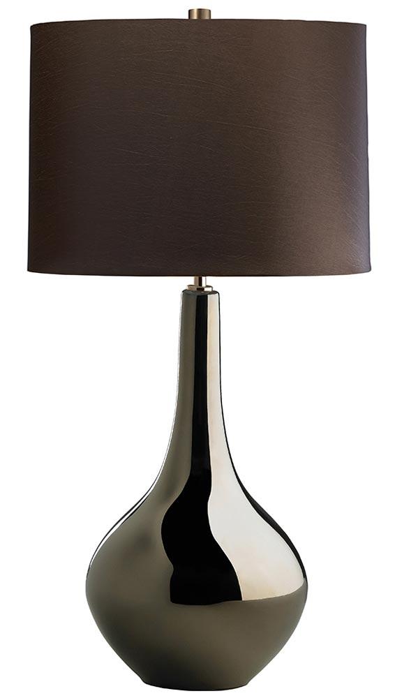 Elstead Job 1 Light Bronze Ceramic Table Lamp Brown Shade