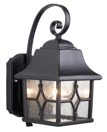 Elstead Kent 1 Light Outdoor Wall Lantern Black Water Glass