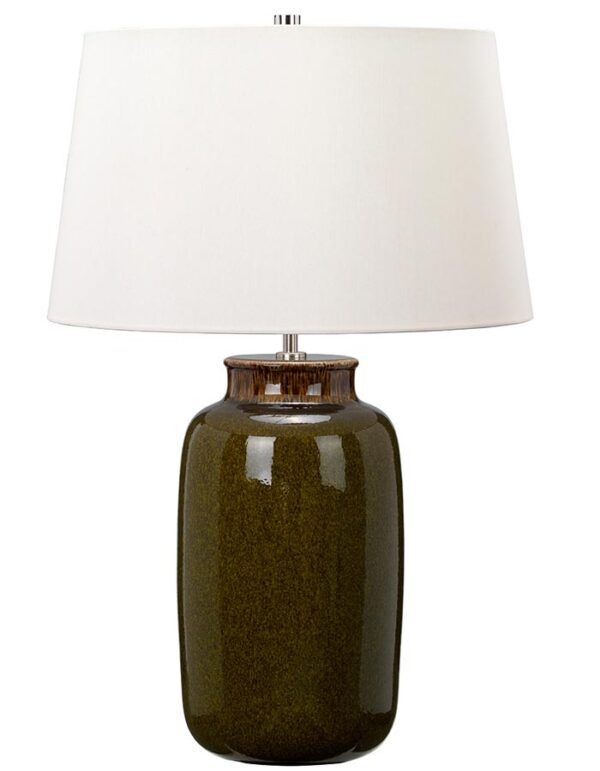 Elstead Kingston Vale Olive Ceramic Table Lamp Ivory Shade