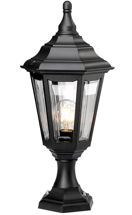 Elstead Kinsale Corrosion Proof 1 Light Outdoor Pedestal Lantern Black