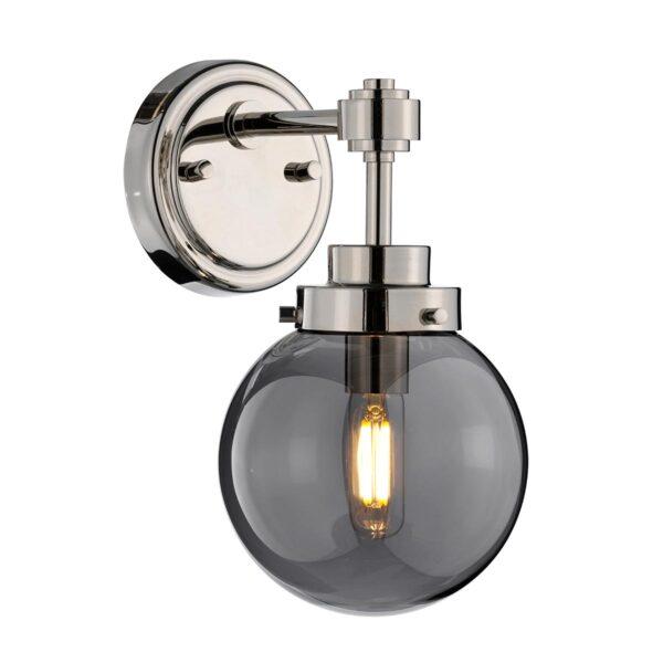 Elstead Kula Polished Nickel Single Wall Light Mirror Globe Shade
