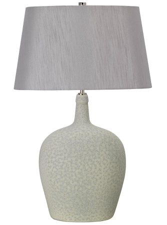 Elstead Lambeth 1 Light Sage Green Ceramic Table Lamp Silver Shade