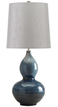 Elstead Lapis Gourd 1 Light Ceramic Table Lamp Light Grey Shade