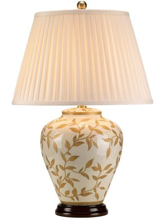 Elstead Leaves Brown & Gold Ceramic Table Lamp Cream Shade