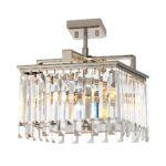 Aries Small Art Deco 4 Light Dual Mount Crystal Pendant Polished Nickel