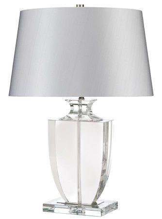 Elstead Liona 1 Light Crystal Vase Table Lamp Silver Shade