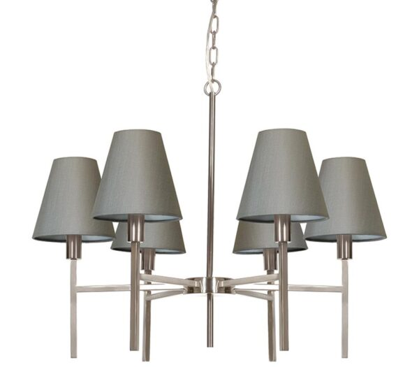 Elstead Lucerne 6 Light Chandelier Brushed Nickel Grey Shades
