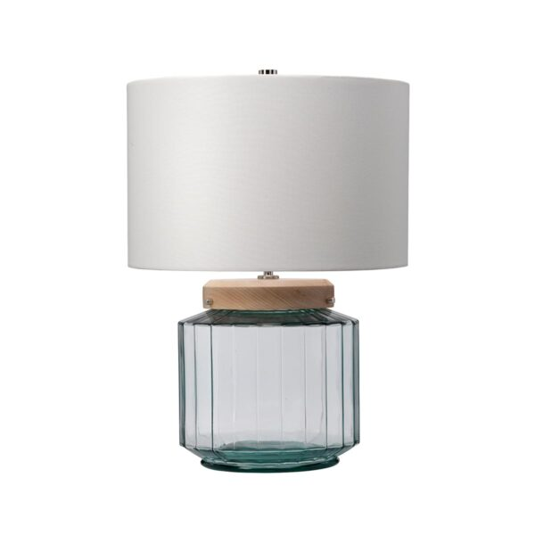 Elstead Luga Recycled Natural Glass 1 Light Table Lamp With Light Wood