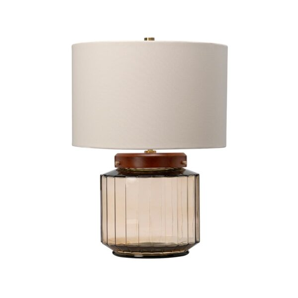 Elstead Luga Recycled Smoked Glass 1 Light Table Lamp With Dark Wood