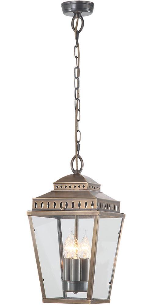Elstead Mansion House Solid Aged Brass 3 Light Hanging Porch Lantern