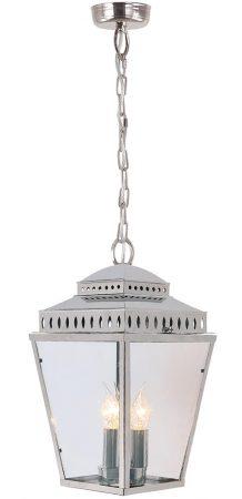 Elstead Mansion House Solid Brass 3 Light Hanging Porch Lantern Nickel