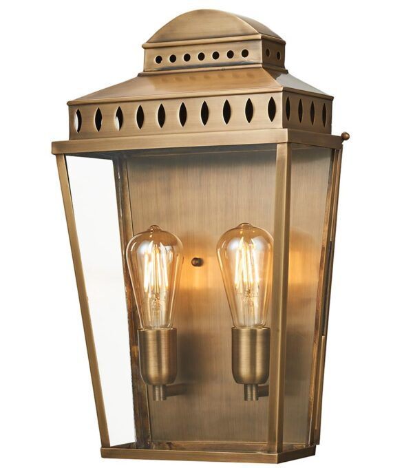 Elstead Mansion House Aged Solid Brass Large Outdoor Wall Lantern