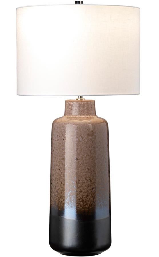 Elstead Maryland Brown & Graphite Ceramic Table Lamp White Shade