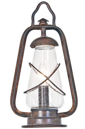 Elstead Miners Outdoor Pedestal Lantern Old Bronze Seeded Glass